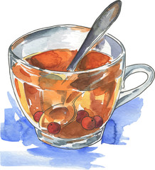 Cup of hot tea with red berries drawn by watercolor and ink on white background with blue brushstrokes. Hand drawn vector  illustration