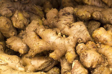 Fresh ginger root and ground ginger on a market in Arequipa, Peru.