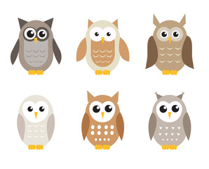 Cute cartoon owl set. Owls in shades of gray. Vector illustration