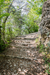 Stone road leading to the medieval castle of Marostica, Italy.