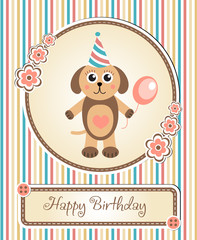 greeting template cute children's birthday party, cartoon dog puppy