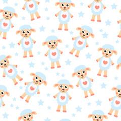 Cute cartoon sheep seamless texture. Children's background fabric. Vector illustration;