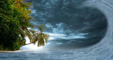 Flutwelle zerstört eine Insel....