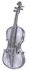 Black and white pencil drawing of vintage violin on white
