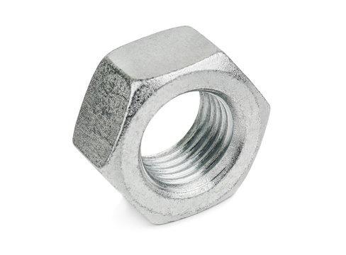 silver nut on white