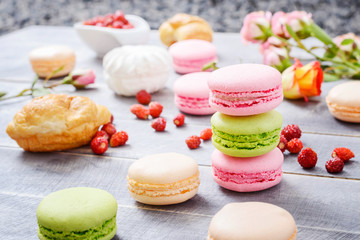 Colorful French Dessert Macaroons
