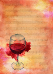 Glass of red wine on sheet music aged with watercolor stain