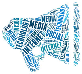 social media internet computers technology communications icon sign symbol text silhouette wordart word cloud concept isolated vector white background