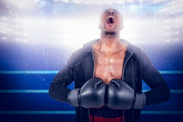 Composite image of boxer preparing for the tournament