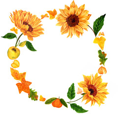 Watercolor wreath with sunflowers, butterflies, leaves and fruit