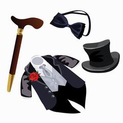 Luxury mens formal attire, tuxedo and accessories