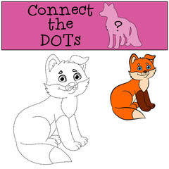 Educational games for kids: Connect the dots. Little cute baby fox