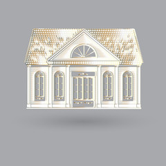 Vector illustration with isolated fascade old house on grey background