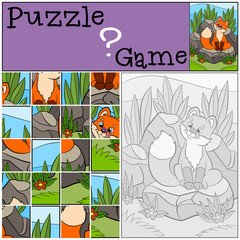 Education games for kids. Puzzle. Little cute baby fox looks at the fly