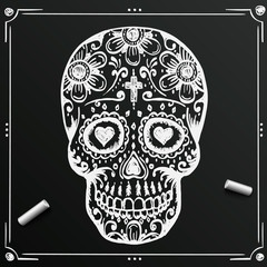 Chalkboard Day Of The Dead Skull sketch. Draw  sugar flower.  tattoo. Vector illustration