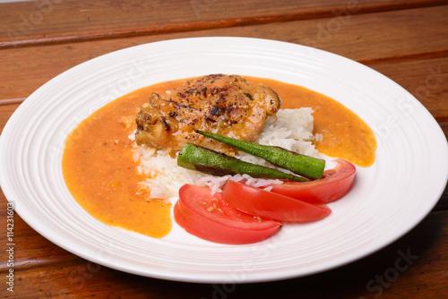 """Chicken Stew with Rice, Okra and Tomatoes"""" Stockfotos und lizenzfreie ..."""