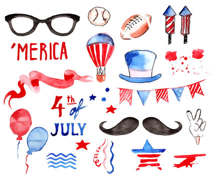 Watercolor Collection of Fourth of July Items with hand-drawn symbols of independence day of America