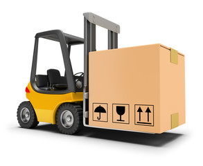 forklift with box