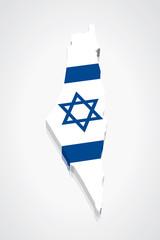 3D vector Flag Map of Israel