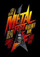 Metal fest poster design with vintage v style electro guitar