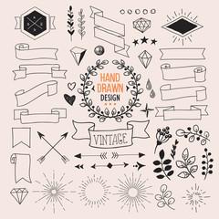 Set of vector hand drawn vintage design elements.