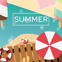 Modern typographic summer poster design with ice cream, beach an