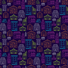 Seamless hand-drawn pattern, cute colorful background with houses, color nice buildings on dark background, good for design fabric, wrapping paper, postcards, EPS 8