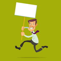 running businessman holding a White Board banner on a wooden stick