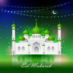 Eid Mubarak background with Islamic Mosque