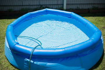 Plastic pool in a summer day