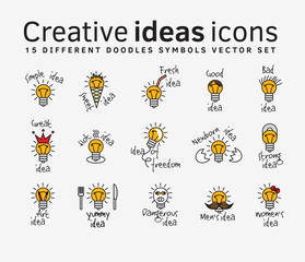 Creative ideas color flat icons symbols set.