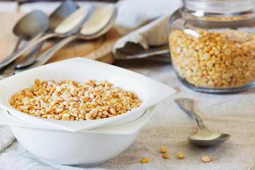 Dry peas in a ceramic bowl