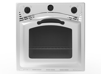 3d illustration of oven. icon for game web. white background isolated.