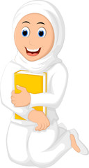Smile Muslim Woman with Hugging a Book Wearing white Veil