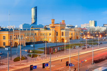 Main Railway Station in the morning in Wroclaw, Poland