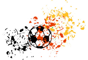 grungy soccer ball, colors of germany, vector