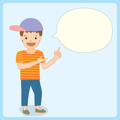 Illustration vector of a boy speaking with blank bubble on blue pastel background colors.Space for your text.