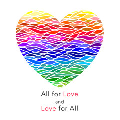 Colorful rainbow waves  heart with motivation quote All for love and love for all. Greeting card, banner. Vector illustration