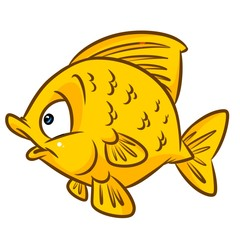 Yellow fish cartoon illustration isolated image animal character