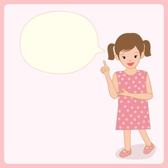 Illustration vector of a girl speaking with blank bubble on blue pastel background colors.Space for your text.