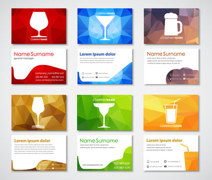Template polygonal cards with glasses for drinks