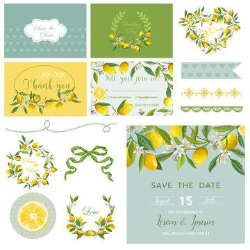 Scrapbook Design Elements. Wedding Summer Flower Set. Lemon Tags