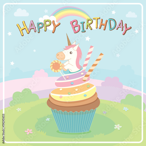 Illustration Vector Of Unicorn Cupcakes On Cute Concept Design In