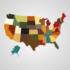 United States map with separated states. Vector illustration