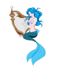 Little Mermaid and harp