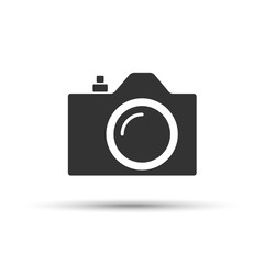 Common SLR camera icon, sign placed on white background