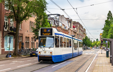 Old tram in Amsterdam