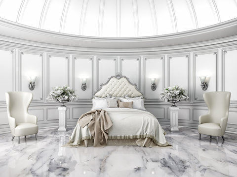 Interior of a classic style round bedroom in luxury villa