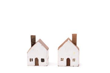 Miniature white wood house on white background