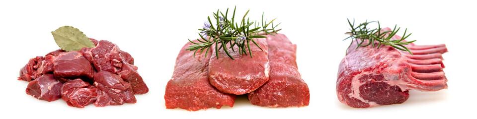 Gulasch, Filet und Kotelett vom Lamm roh als Panorama